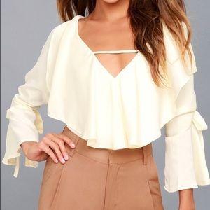 Lulus Cream long sleeve blouse